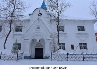 Russia, Vorkuta 14,02,2021 Church of the Archangel Michael, Vorkuta, Russian Orthodox Church, Vorkuta diocese, Vorkuta deanery