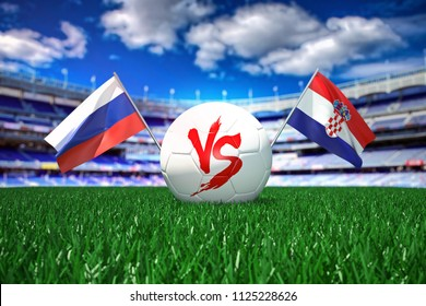 Russia vs Croatia. Football 3d concept. White ball with the flag in the stadium.