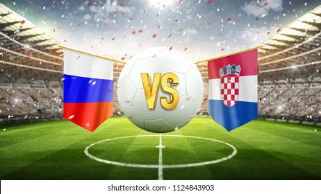 Russia vs Croatia. Soccer concept. White soccer ball with the flag in the stadium, 2018. 3d render