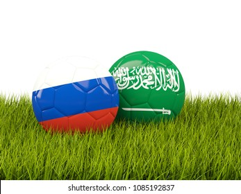 Russia vs Saudi Arabia. Soccer concept. Footballs with flags on green grass. 3D illustration