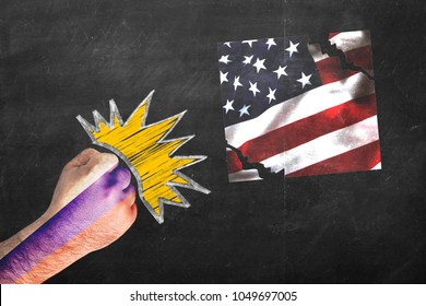 RUSSIA vs. USA. Difficult political relationships. Fist with Russian flag beating and tearing US flag.