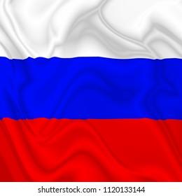 Russia Waving Silk Flag Digital Design