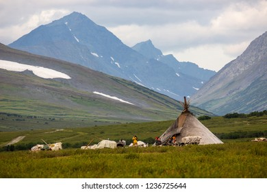 RUSSIA, YAMAL - AUGUST 23, 2018: Reindeer herders' camp in the mountains