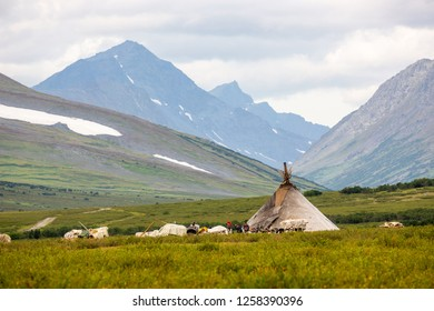 RUSSIA, YAMAL - AUGUST 23, 2018: Khanty reindeer breeders camp in the mountains