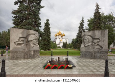 "RUSSIA, YAROSLAVL - 02 JULY 2018:  ""Eternal Flame"" - a monument in honor of the combat and labor glory of Yaroslavl during the Great Patriotic War of 1941-1945. Dormition Cathedral in Yaroslavl."