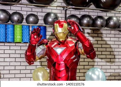 RUSSIA, YAROSLAVL - 17 NOV. 2018: Animators iron man and spider man in the fitness room at a corporate party
