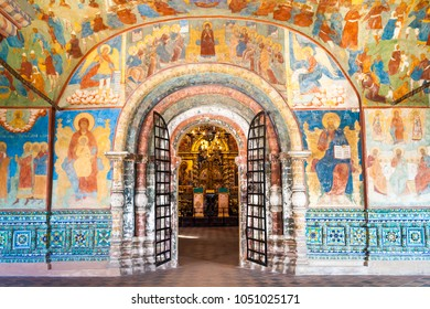RUSSIA, Yaroslavl - April 29, 2017: Internal painting with icons in the Church of Elijah the Prophet in Yaroslavl