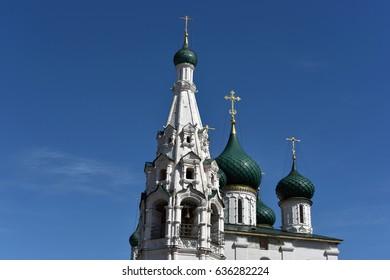 Russia, Yaroslavl - May, 7, 2017. Old Russian temple in the city of Yaroslavl