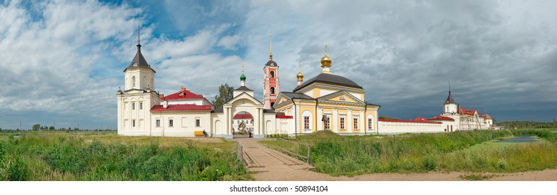 Russia, Yaroslavl region. Churches and bell tower of old russian orthodox Varnitsky monastery. Panorama