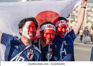 Russia, Yekaterinburg - June 24, 2018: Football Fans before the match Sinigal vs Japan near stadium Ekaterinburg Arena. FIFA World Cup 2018