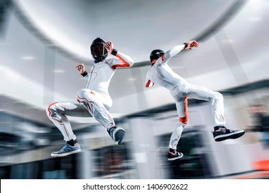 Russia. Yoga fly in wind tunnel. Indoor skydiving in Moscow.