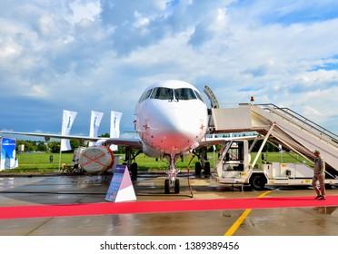 Russia, Zhukovsky, 31.04.2019: Russian commercial passenger aircraft Sukhoi Superjet 100