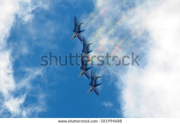 "RUSSIA, ZHUKOVSKY, AUGUST 25, 2015: Aerobatic team ""Russian Knights"" on the Su-27"