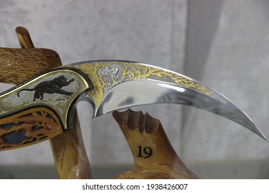 Russia, Zlatoust - September 2020: Zlatoust arms factory-museum of engraving and decorated edged weapons made of steel. Here they prepare broadswords, sabers, checkers, daggers, pikes, cleavers, rapie
