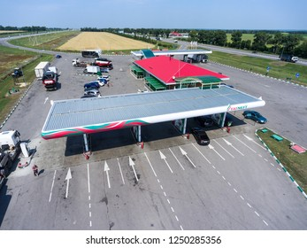 RUSSIA-CIRCA JUL, 2018: Petrol station of Tatneft oil and gas company is on motorway M4 Don. It is the sixth largest oil company in Russia. Gas station is located on tollway around Voronezh city