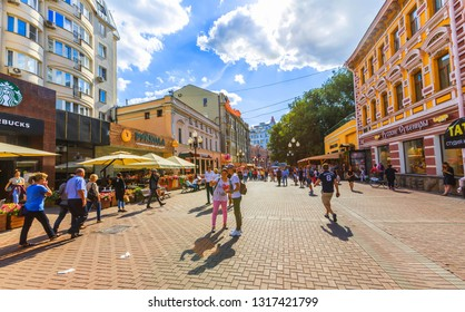 Russia-Feb 20 2019:Travelers are shopping at the street market at Old Arbat street, iconic popular souvenir from Russia.