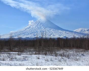 Russia,Kamchatka Peninsula.The volcano of Klyuchevskaya sopka. (4800 m) is the highest active volcano of Eurasia.
