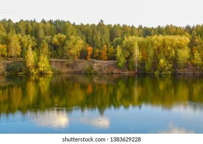Russia,lake inside yuri gagarin park of chelyabinsk . so beautiful nature of Russia
