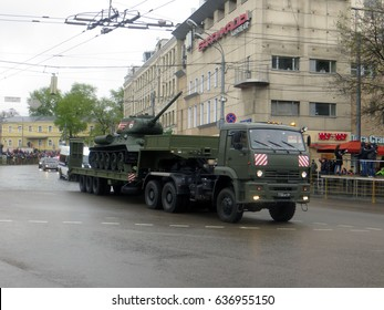 Russia.Moscow. May 09, 2017.Victory Day celebration. Military pass on Krasnaya Presnya.  Victory Day Parade to commemorate the 72th anniversary of Victory in Great Patriotic War.