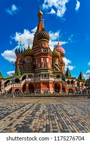 Russia/Moscow-AUG 20 2018: Popular tourist spot St. Basil's Cathedral at Red Square in Moscow, Russia