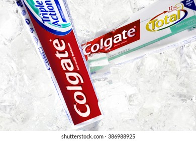 RUSSIA,MOSCOW-March 07,2016-  Tubes of Colgate Total Toothpaste in ice. Colgate, a sub-brand of Colgate-Palmolive, is an oral hygiene product line of toothpastes, toothbrushes and mouthwashes.