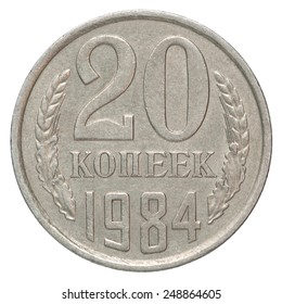 Russian 20 cents on a white background