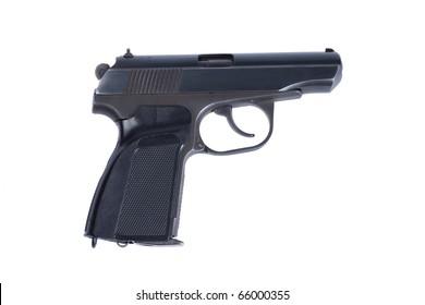 Russian 4.5mm pneumatic  handgun isolated on white