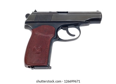 Russian 9mm handgun isolated on white background