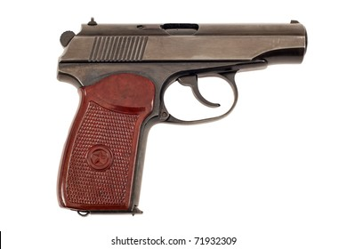 Russian 9mm handgun on white background