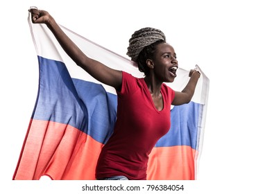 Russian afro fan holding the national flag