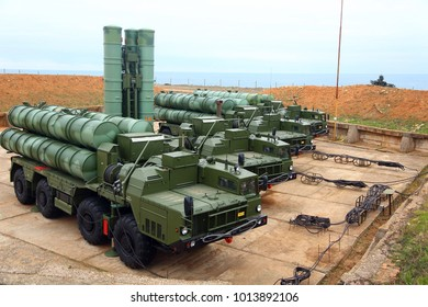 Russian anti-aircraft missile system of large and medium range. Military training ground - Southern Federal District, Russia. January 13, 2018