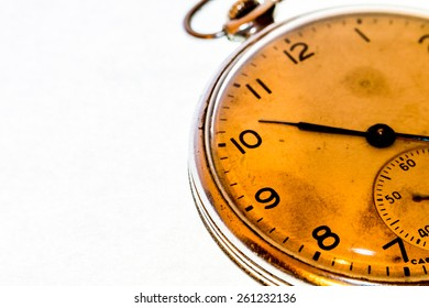 Russian antique pocket watch on white  background