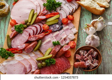 Russian appetizers set on wooden board, close view copy space