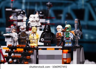 RUSSIAN, April 03, 2018. Constructor Lego Star Wars. Darth Vader and Bounty Hunters