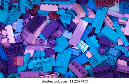 RUSSIAN, April 04, 2018. White Constructor Lego Classic. Set of colored cubes of lego in a box in bulk