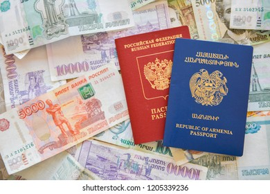 Russian Armenian passport and rubles  on the background.