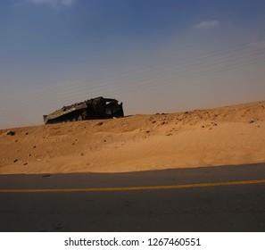 A Russian armored machine of the Army of Muammar Gaddafi was broken on the Benghazi-Tripoli highway. The Arab Spring in Libya begins. April 7, 2011, Benghazi, Libya.