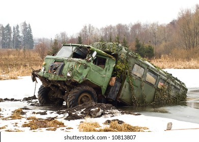 Russian army truck forgotten in the marsh