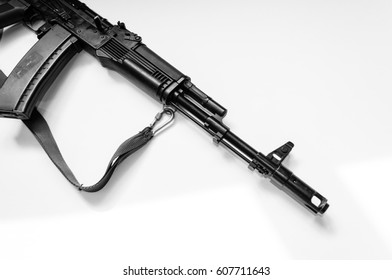 Russian automatiic rifle isolated  black and white background