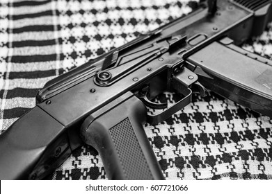 Russian automatiic rifle on shawl  black and white background