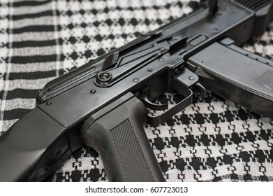 Russian automatiic rifle on shawl background