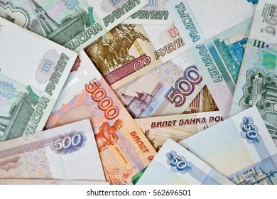 russian banknotes of different value. paper money for illustration or background