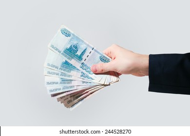 Russian Banknotes Rubles in hand