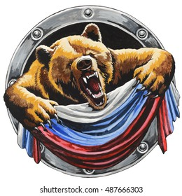 Russian bear with the Russian flag