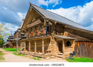 Russian beautiful medieval house in the village