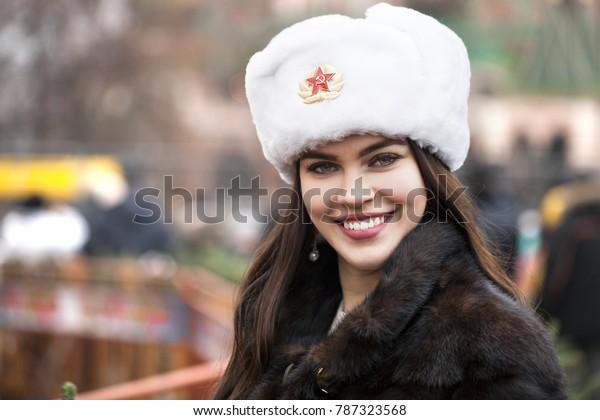 Russian Beauty Portrait Young Beautiful Girl Stock Photo