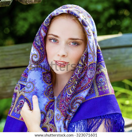 russian beauty woman national patterned scarf stock photo edit now