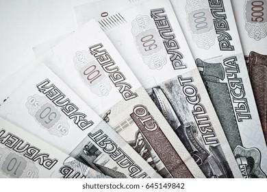 russian bills in shape of fan on the white background