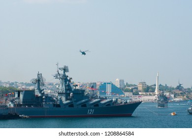 Russian Black Sea fleet in Sevastopol. Navy Day parade. Helicopters attack