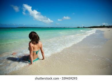 456b1a54f8 Girl Swimming Paradise Beach Cuba Stock Photo (Edit Now) 339042884 ...